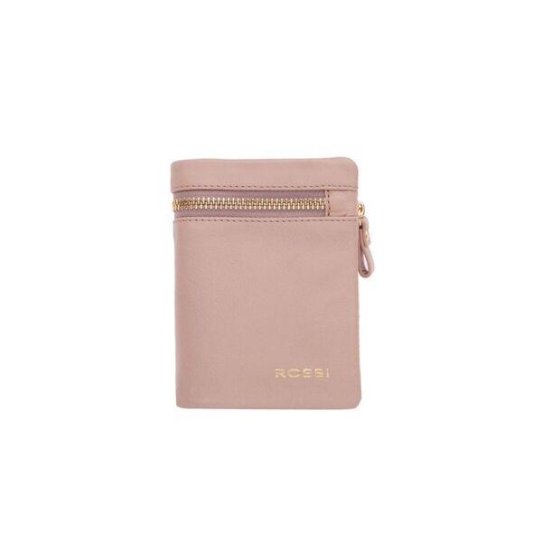 Компактен дамски портфейл ROSSI, цвят перлено розов
