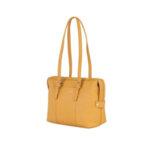 Дамска чанта ROSSI, от естествена кожа, жълта