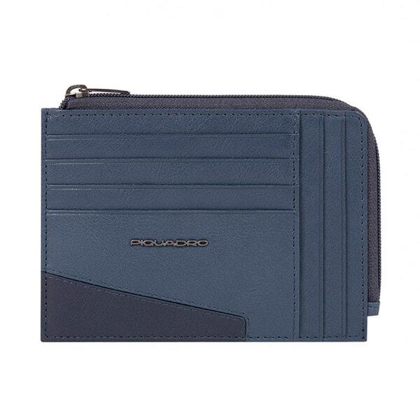Кожен портфейл за документи Piquadro Hakone с RFID защита, син