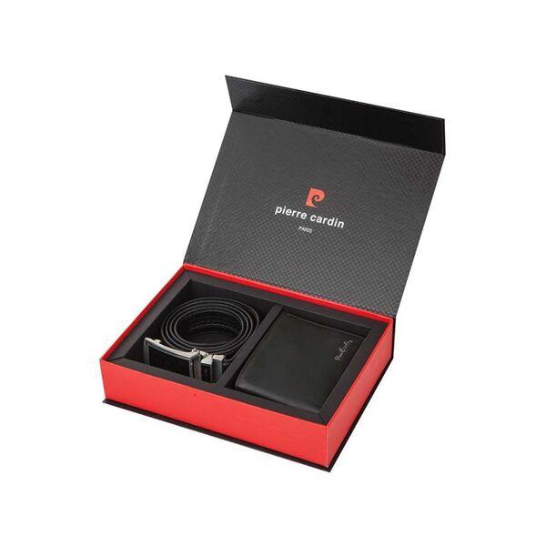 Мъжки комплект Pierre Cardin - портфейл и колан, черни