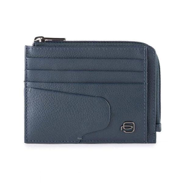 Кожен портфейл за кредитни карти Piquadro AKRON, син с монетник