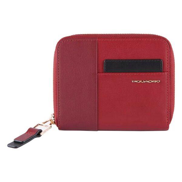 Дамски портфейл Piquadro с три отделения за карти, цвят бордо