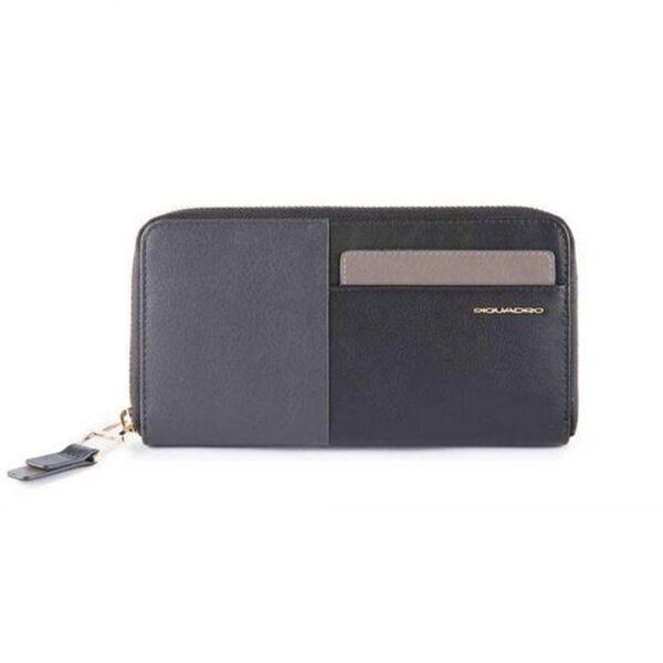 Дамски портфейл Piquadro с отделение за монети и карти, черен