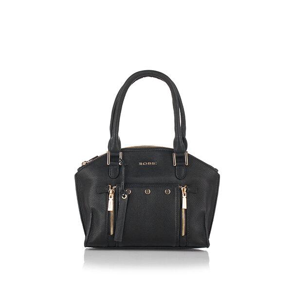 Дамска чанта с ципове ROSSI, черна с ципове