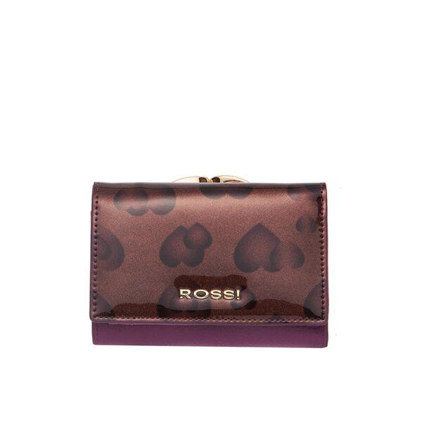 Малко дамско портмоне ROSSI, лилаво на сърца