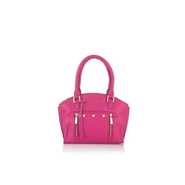 Дамска чанта с ципове ROSSI, цвят малина