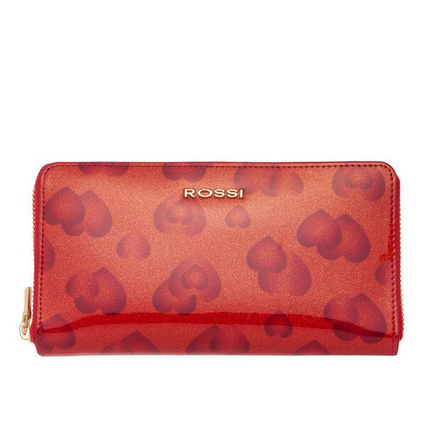 Дамско портмоне ROSSI, червено с щампа на сърца