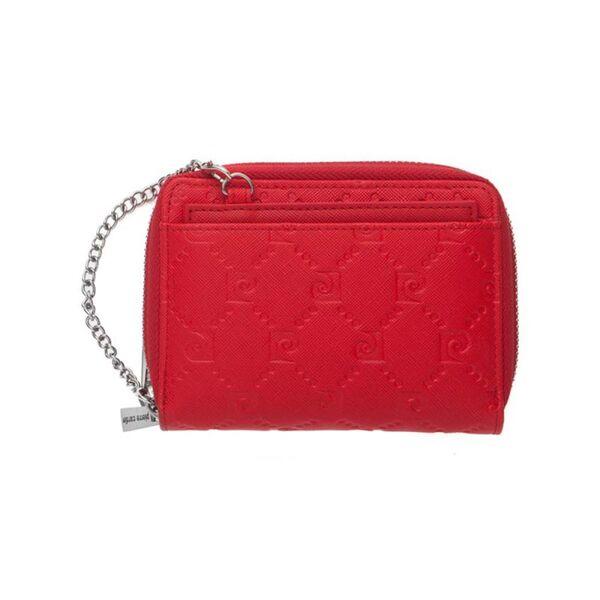 Дамско портмоне Pierre Cardin, червено със щампа и верижка
