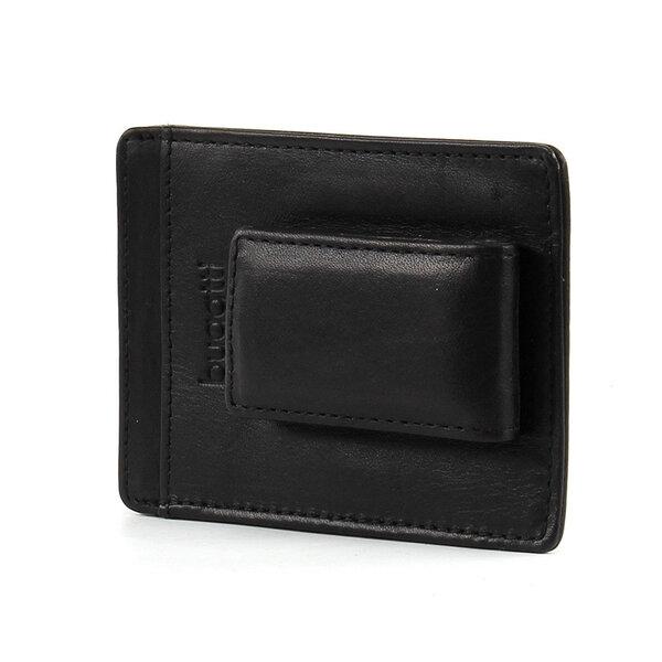 Кожен калъф за кредитни карти и щипка за пари Bugatti Primo 3CC, черен