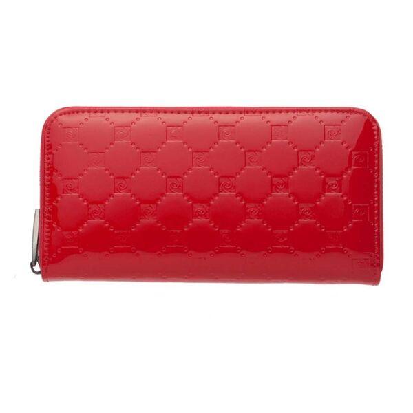 Дамски портфейл Pierre Cardin, червен гланц със щампа