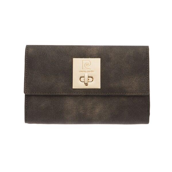Дамски портфейл Pierre Cardin, сив с механизъм и златисти нюанси
