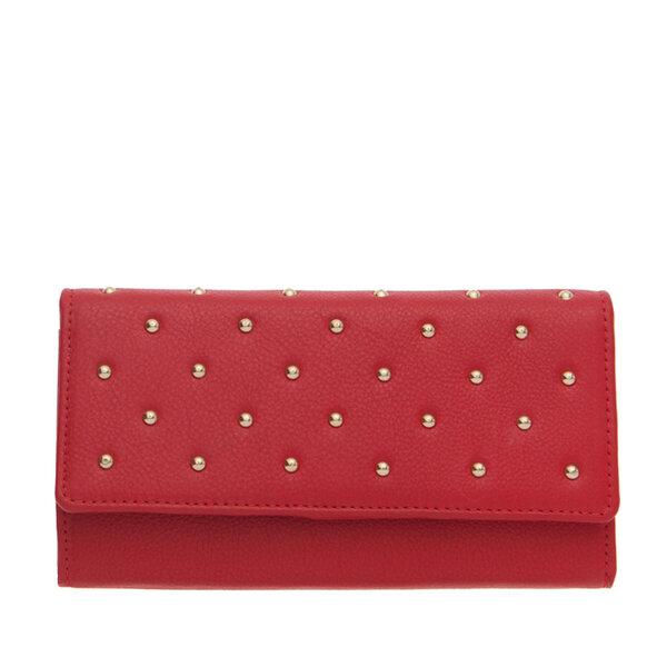 Дамско портмоне ROSSI, наситено червен със златисти орнаменти