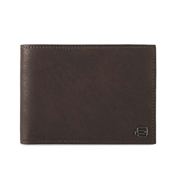 Мъжки портфейл от естествена кожа Piquadro с отделения за карти, монетник и RFID защита, тъмнокафяв