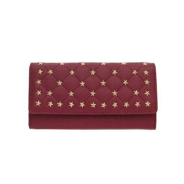 Дамско портмоне ROSSI със златисти орнаменти, винено червено