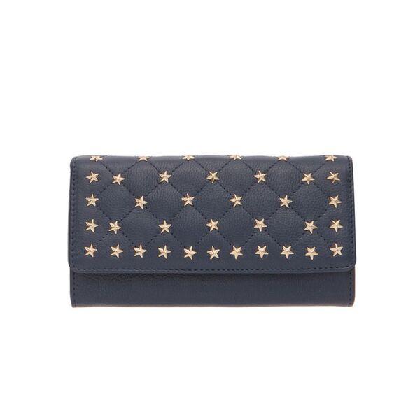 Дамско портмоне ROSSI със златисти орнаменти, сапфирено синьо