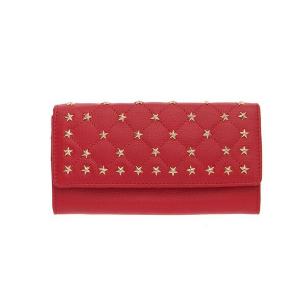 Дамско портмоне ROSSI с орнаменти, наситено червено