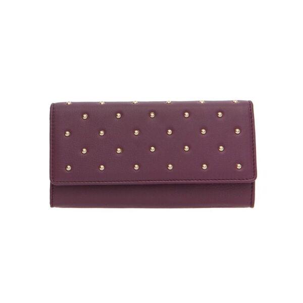 Дамско портмоне ROSSI, цвят боровинка със златисти орнаменти