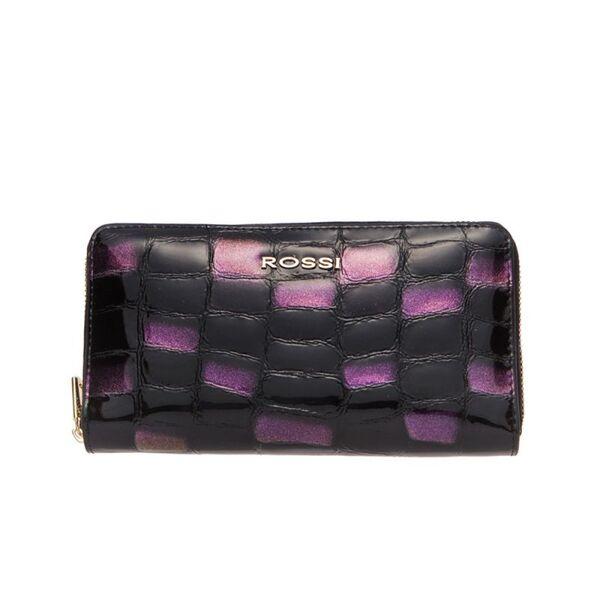 Дамско портмоне ROSSI, черно и лилаво, релефна кожа