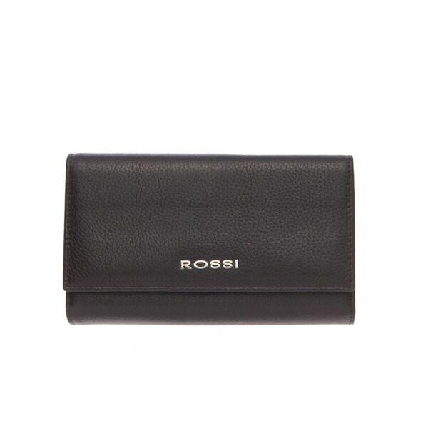 Дамско портмоне ROSSI, цвят тъмно кафе, с монетник