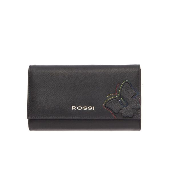 Дамско портмоне ROSSI, черен с орнаменти, монетник