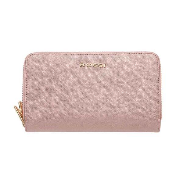 Дамско портмоне ROSSI,с двоен цип - Сафиано Блестящо Розово