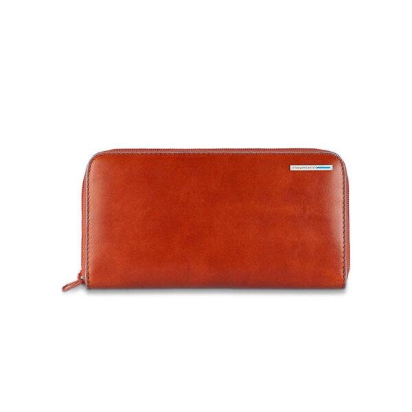 Дамски портфейл Piquadro с 11 отделения за кредитни карти, оранжев
