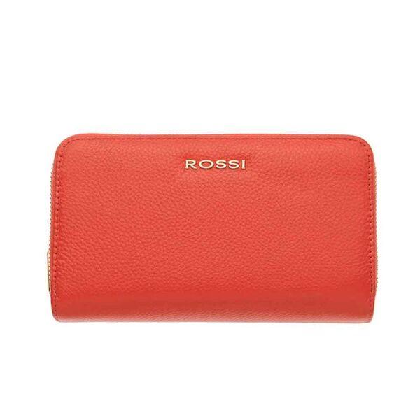 Дамско портмоне ROSSI,с двоен цип -  цвят оранжев
