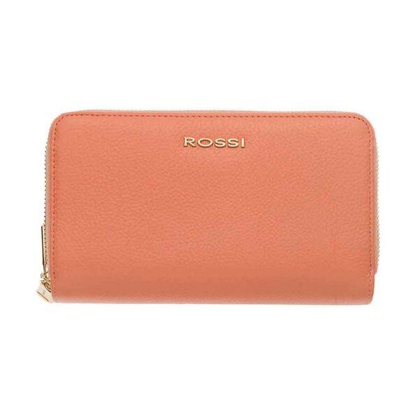 Дамско портмоне ROSSI,с двоен цип - цвят Праскова