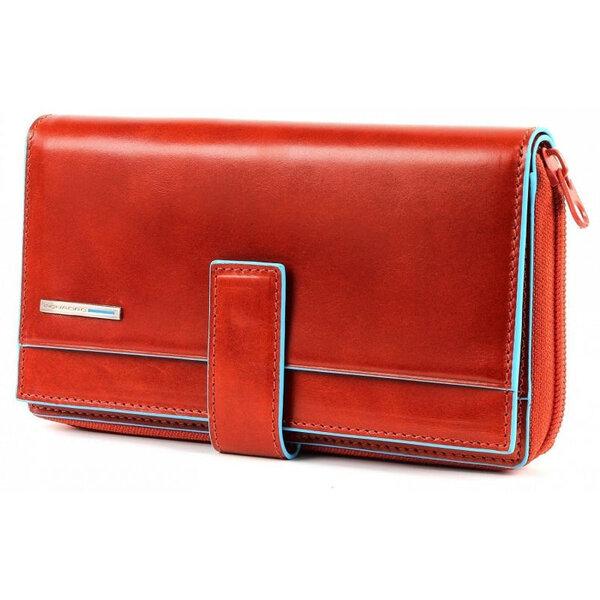 Дамски портфейл Piquadro от естествена кожа в оранжево и бежово
