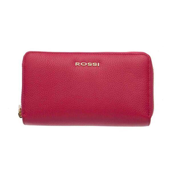 Дамско портмоне ROSSI,с двоен цип - цвят малина