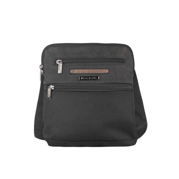 Мъжка чанта Pierre Cardin плат и еко кожа, черна