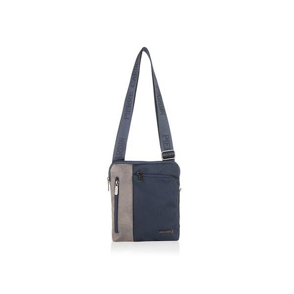 Мъжка чанта Pierre Cardin плат и еко кожа, син/сив