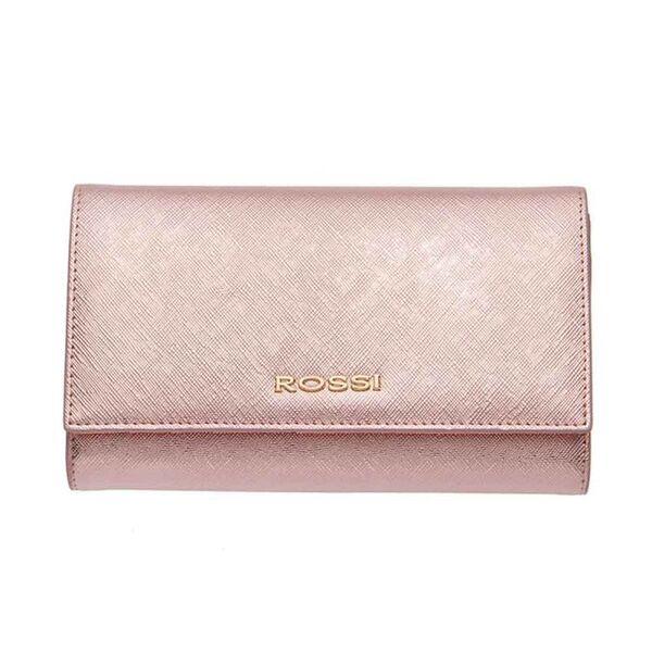 Дамско портмоне ROSSI, Сафиано, цвят блестящо розово