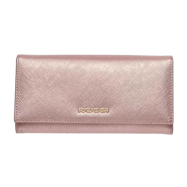 Дамско портмоне ROSSI, Сафиано цвят блестящо Розово