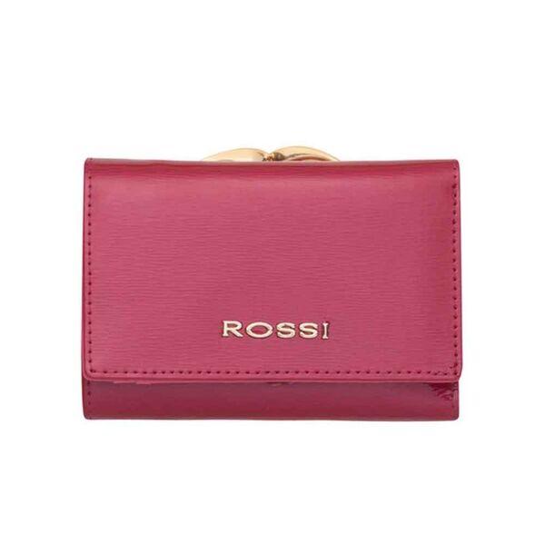 Малко дамско портмоне ROSSI, цвят малина, гланцово