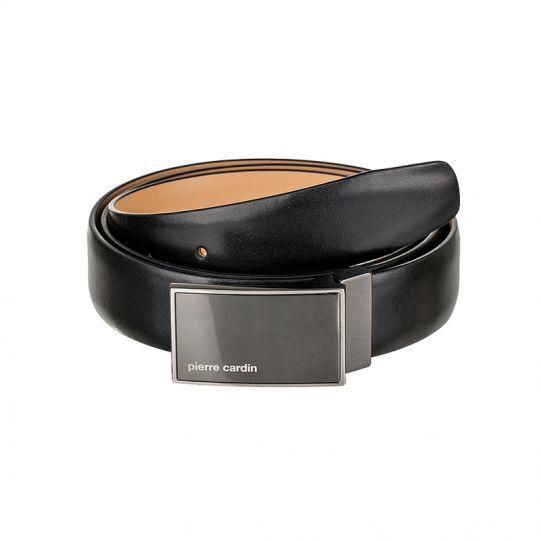 Черен колан Pierre Cardin, със сива плочка