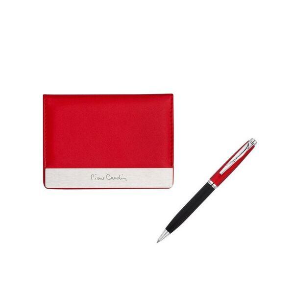 Червен дамски сет Pierre Cardin, визитник и химикалка