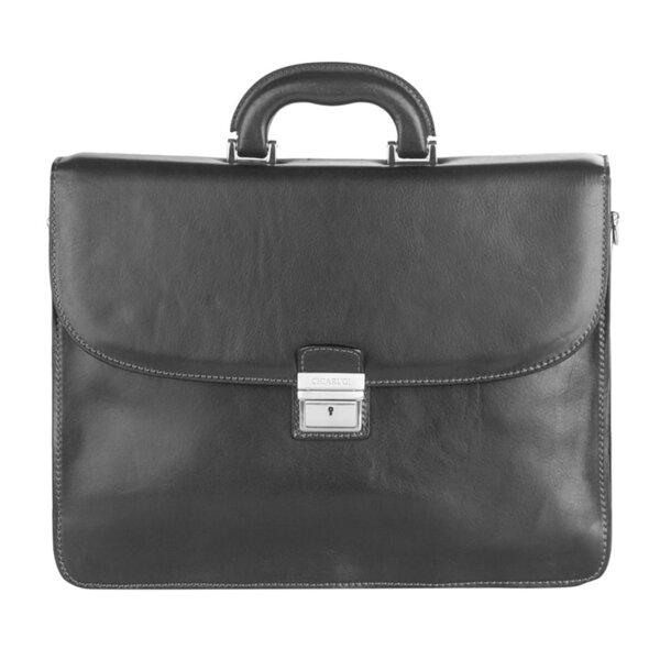 Класическа бизнес чанта CHIARUGI, от естествена кожа, черна