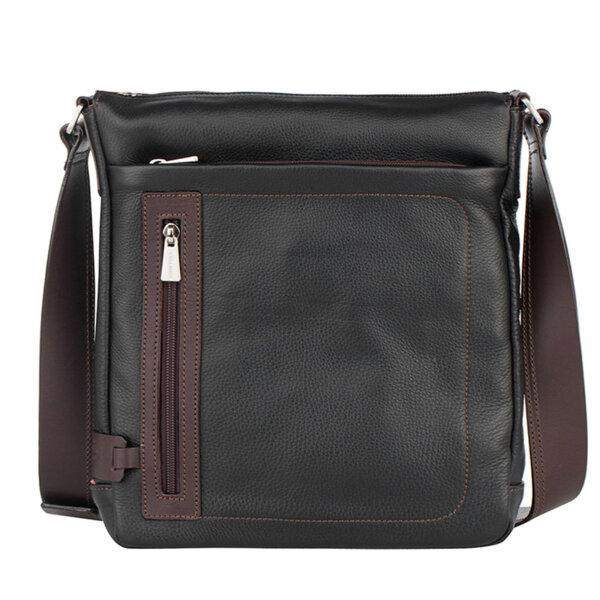 Мъжка чанта за през рамо CHIARUGI, черна с кафяво