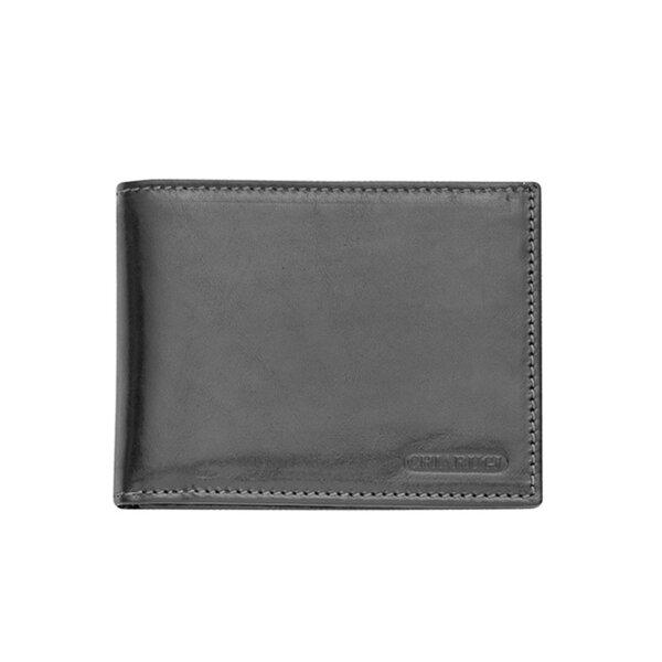 Мъжки портфейл CHIARUGI, естествена кожа, черен