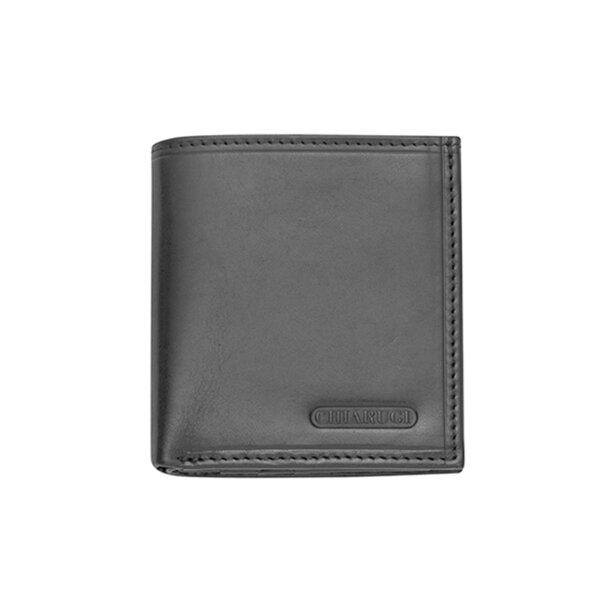 Вертикален мъжки портфейл CHIARUGI, естествена кожа, черен