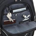 Раница SwissDigital с RFID защита, USB port и отделение за лаптоп, черна