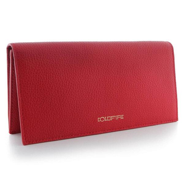 Дамско портмоне с капак Coldfire, от естествена кожа в червен цвят - Color Vibes