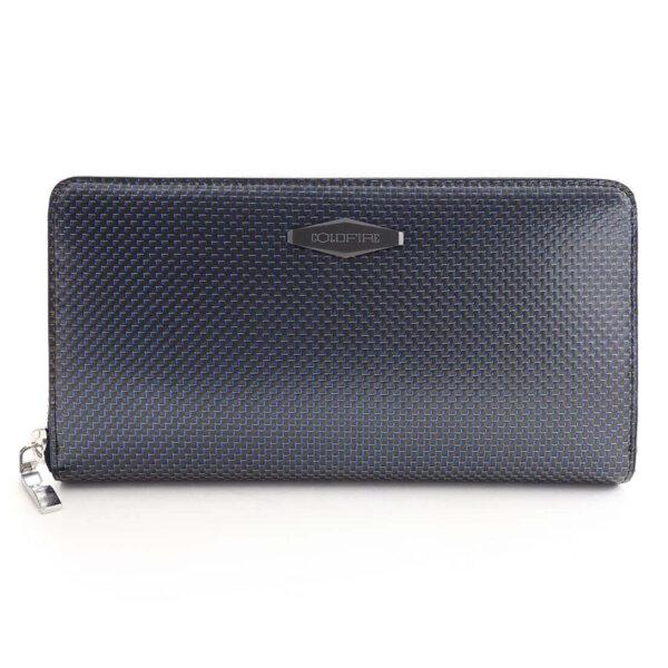 Дамско портмоне Coldfire Tactical Elegance от естествена кожа и карбон - RFID Защита, синьо