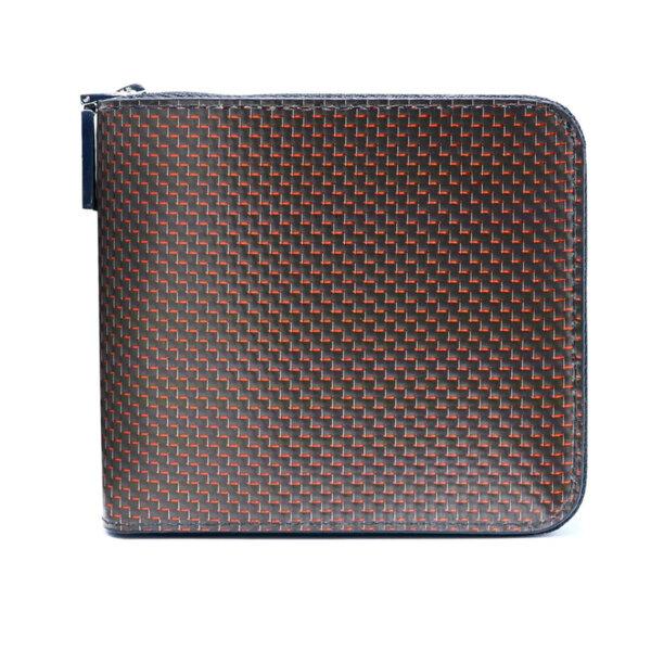 Малко дамско портмоне Coldfire Tactical Elegance с цип от естествена кожа и карбон - RFID Защита, червено