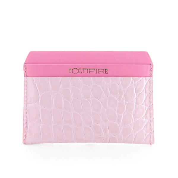 Kалъф за кредитни карти от естествена кожа Coldfire с крокодилски принт - Color Vibes, розов