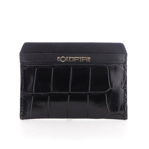 Kалъф за кредитни карти от естествена кожа Coldfire с крокодилски принт - Color Vibes, черен