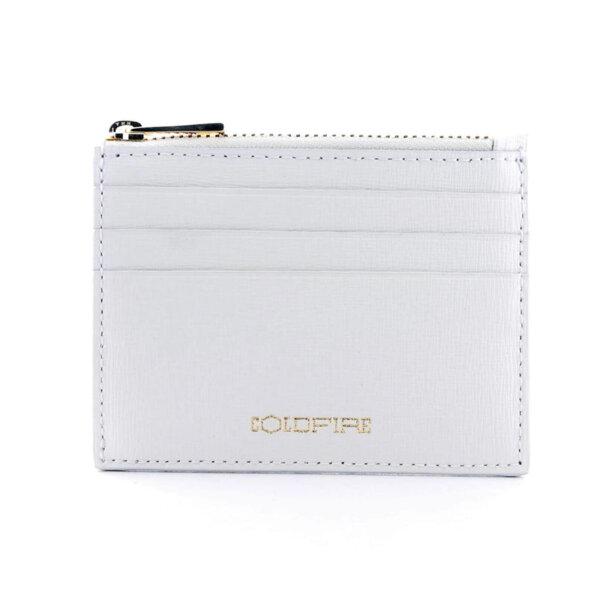 Калъф за кредитни карти с цип Coldfire от естествена кожа - Safiano Color Vibes, бял
