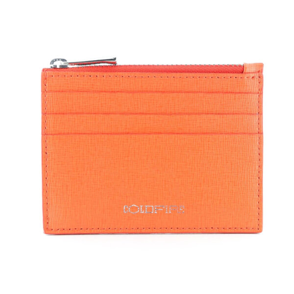Калъф за кредитни карти с цип Coldfire от естествена кожа - Safiano Color Vibes, оранжев
