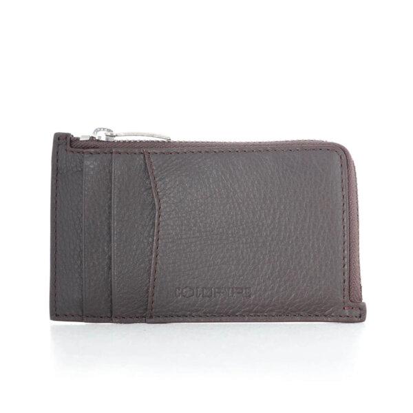 Калъф за кредитни карти и документи Coldfire с ципов монетник - естествена кожа, RFID Защита, кафяв